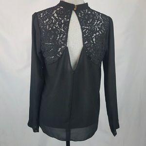 BCNU sheer/lace blouse L NWT